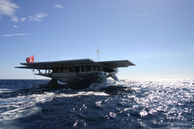1st Solar boat expedition, 'TÛRANOR PlanetSolar Catamaran' reaches the Canary Islands - Credit PlanetSolar