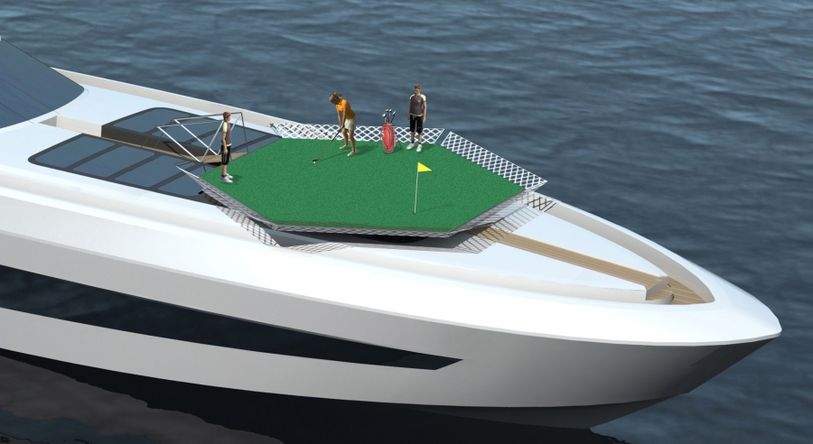 Besenzoni's new Helybase Concept for superyachts used as a recreation area- Credit Besenzoni