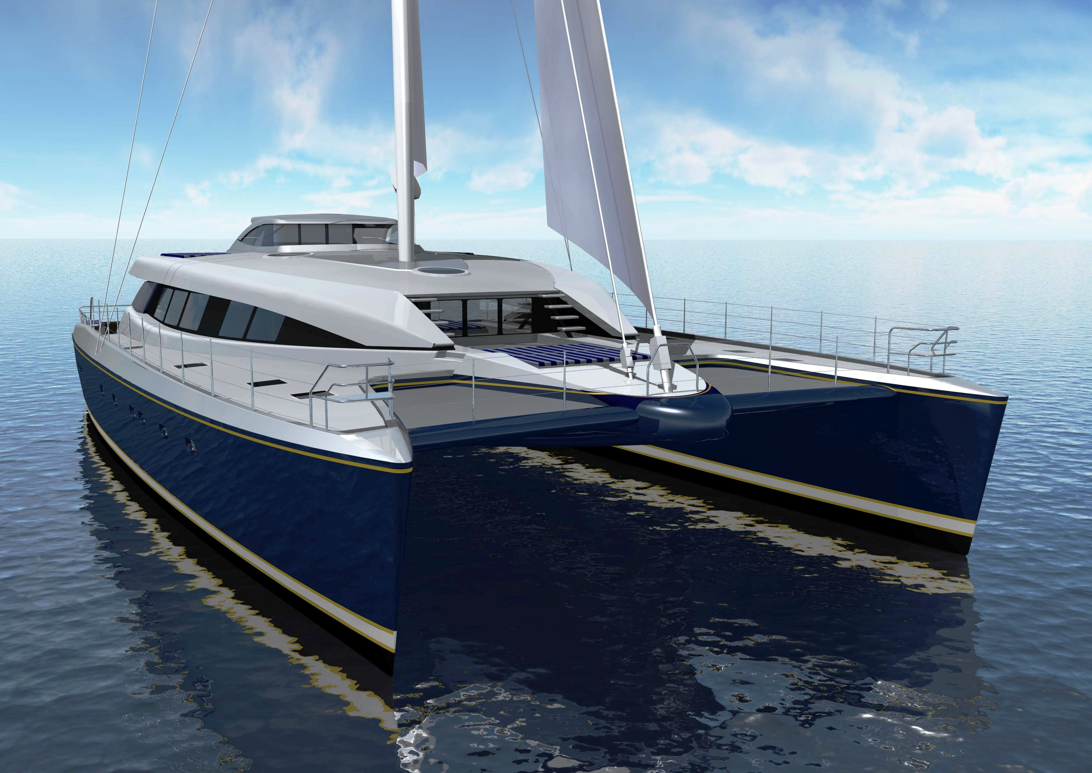 Exterior of the 30m Super Catamaran Quintessential 5 (AKA Q5) by Yachting Developments