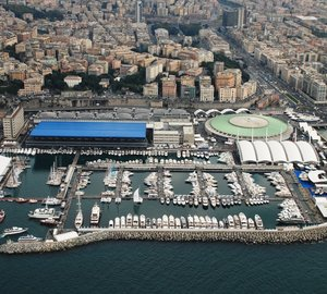 Ferretti Group's CRN 60m megayacht Blue Eyes on display at the Genoa Boat Show