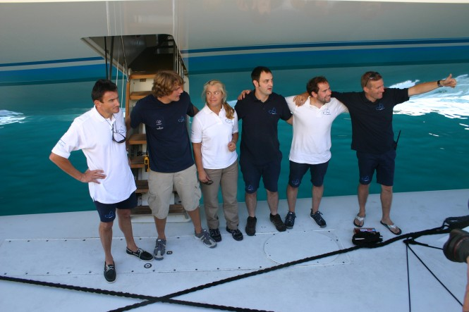 The six crew members of Ms Turanor – PlanetSolar planning to circumnavigate the world by boat solely powered by solar energy - credit PlanetSolar