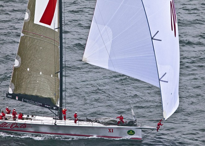Sailing yacht Wild Oats XI claims the Cabbage Tree Island Race Record in a time of 14h,13m,35sec. - Photo Credit Rolex Daniel Forster