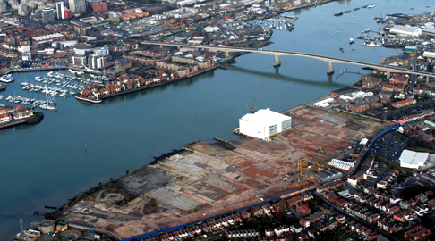 Aerial view of Woolston site cleared for development