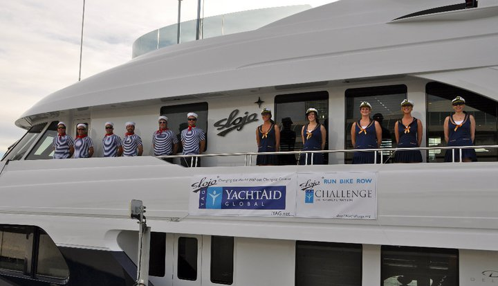 Crew of Motor yacht SLOJO in San Deigo before departing on the SLOJO YAG Challenge - Credit Yacht Slojo