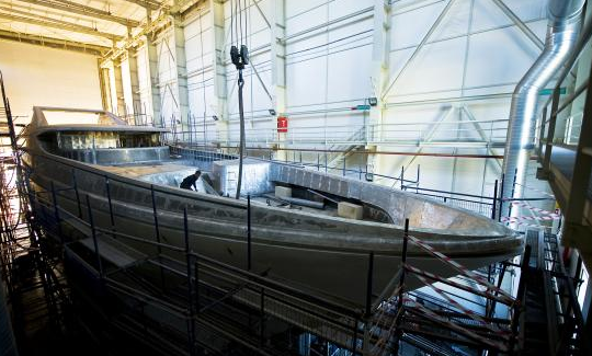 Phot of the Turquise Yacht Under Construction