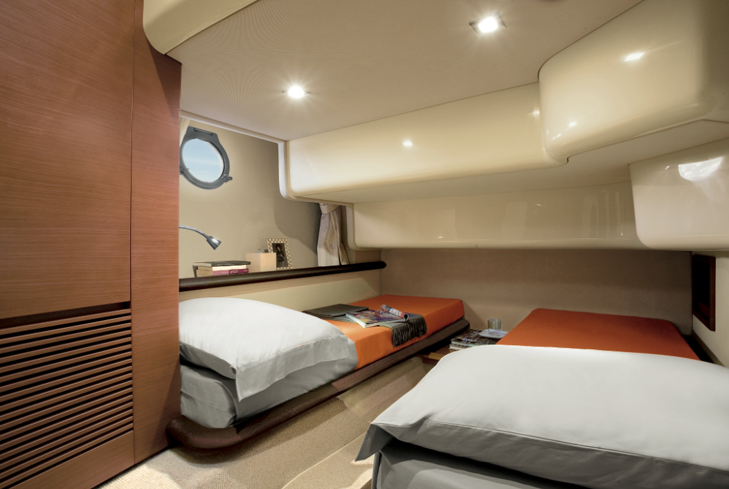 guest cabin interior azimut 43 yacht from the flybridge