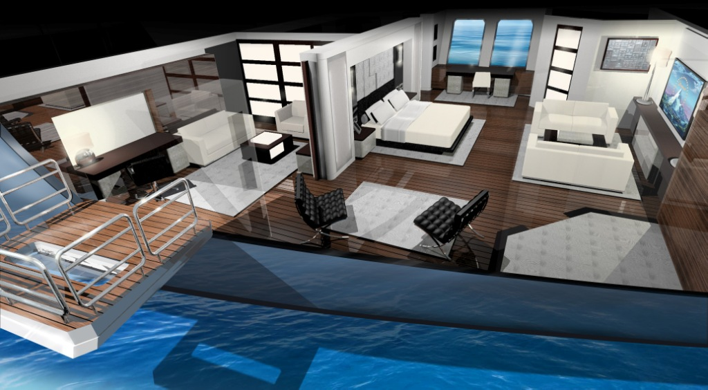 Ruea 75m Motor Yacht Master Suite – A Design Unlimited and BMT Nigel Gee Superyacht Design