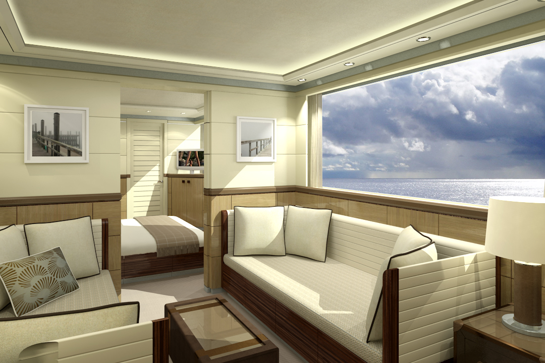 Interior of the 33m Curvelle Quaranta Superyacht - Image Courtesy Curvelle Yachts