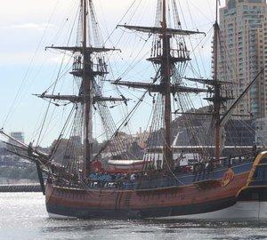 Sailing yacht Endeavour, replica of Captain James Cook's ship HMB Endeavour sails for Perth 2011