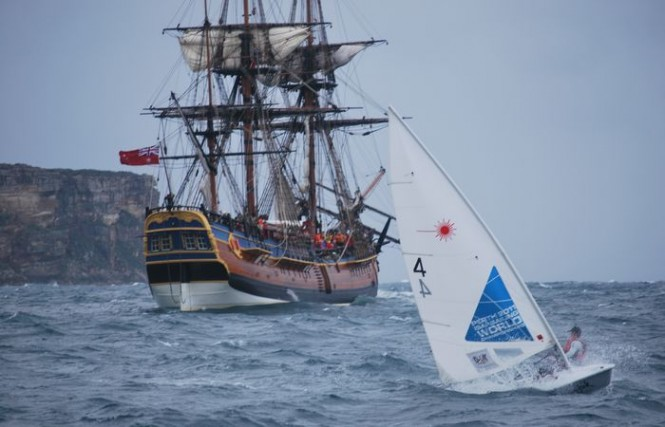 Sailing yacht Endeavour, replica of Captain James Cook's ship, HMB Endeavour sails for Perth 2011