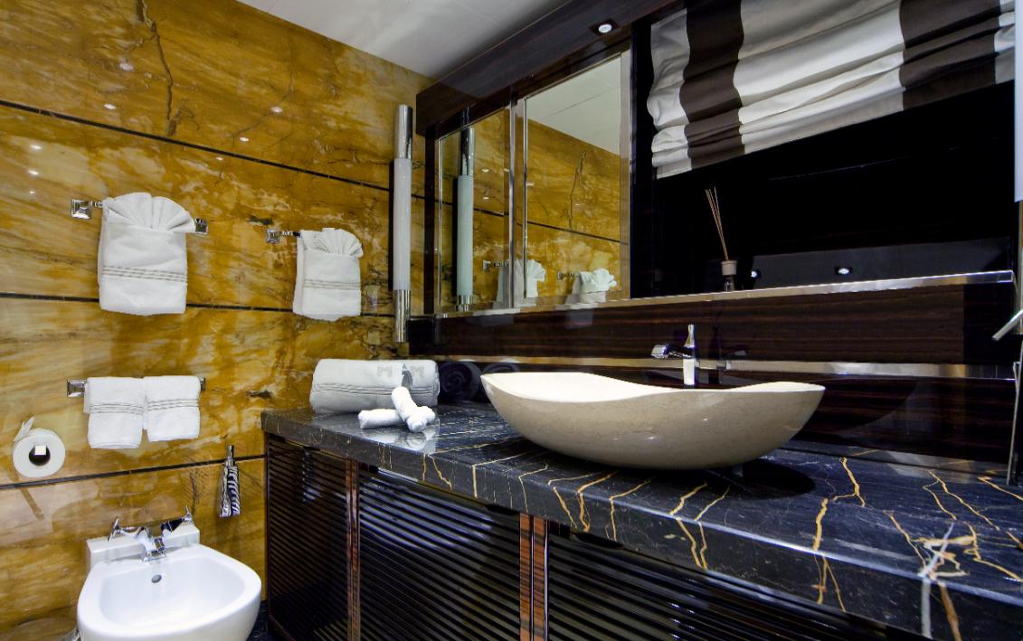 Superyacht Manifiq By Mondomarine Guest Bathroom Interior By Luca Dini Design Yacht Charter Superyacht News