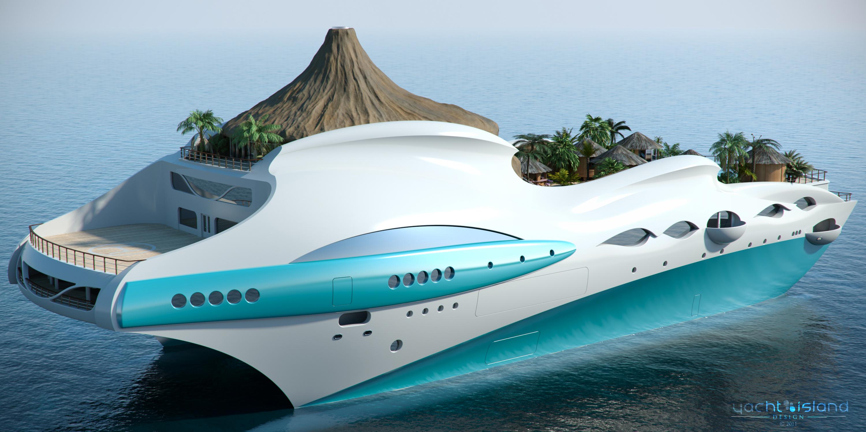 90m Tropical Island Paradise themed motor yacht design by Yacht Island Design