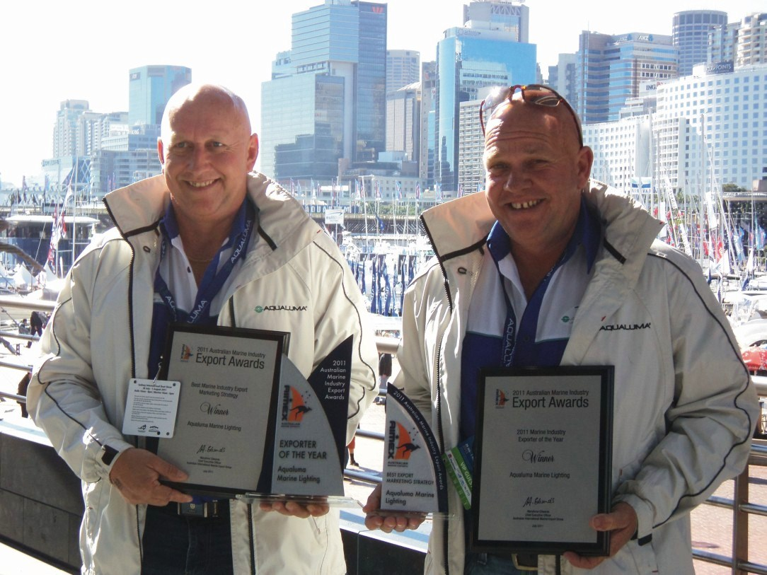 Aqualuma wins big a Sydney International Boat Show 2011 - Exporter of the Year and Best Export Marketing Strategy Winners Aqualuma Marine Lighting. Directors Carl and Grant Amor.