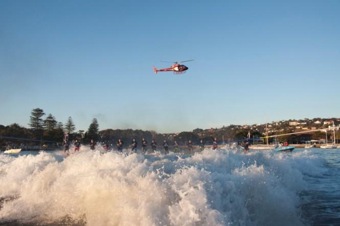 Riviera 61 series II Enclosed Flybridge in Sydney pulling the water skiers