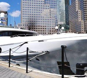 Christensen Motor Yacht Remember When at Dennis Conner's North Cove, Manhattan