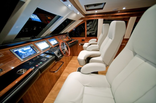 New Ocean Yachts 68 Enclosed Flybridge Yacht - A super yacht inspired helm station