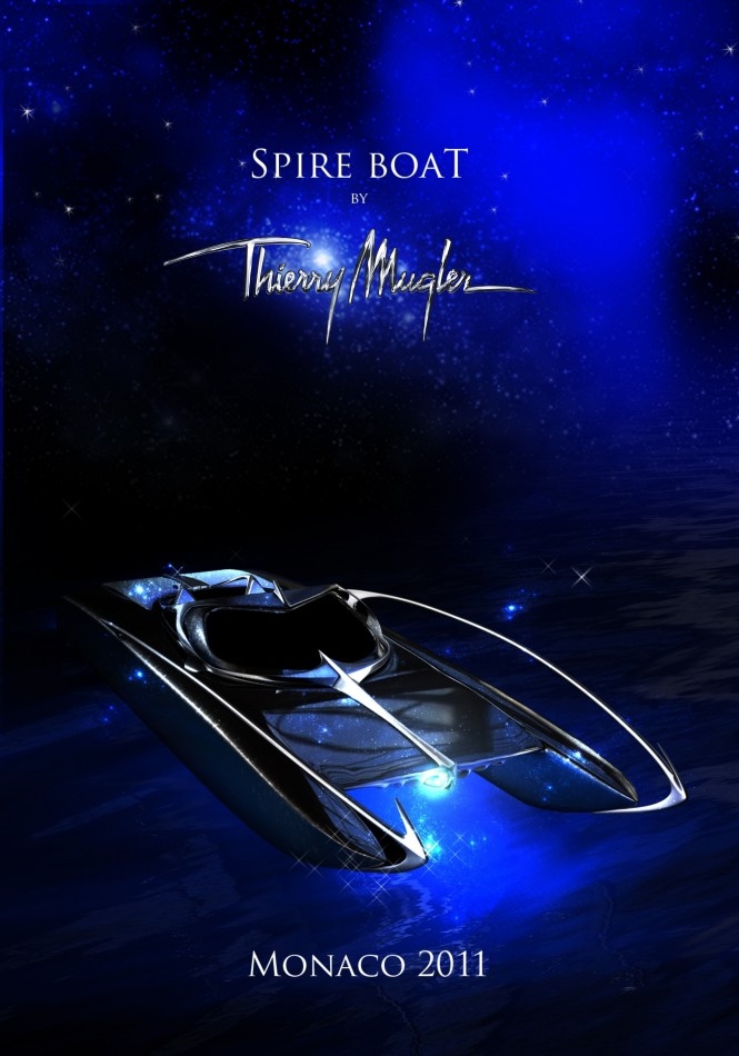 Thierry Mugler Studio redesigned Spire Boat will be presented at the 2011 Monaco Yacht Show