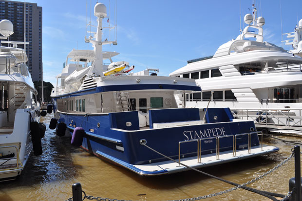 Motor yacht Stampede at Dennis Conner's North Cove