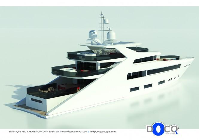 47m motor yacht Lustroso design by Docq Concepts Aft View Profile