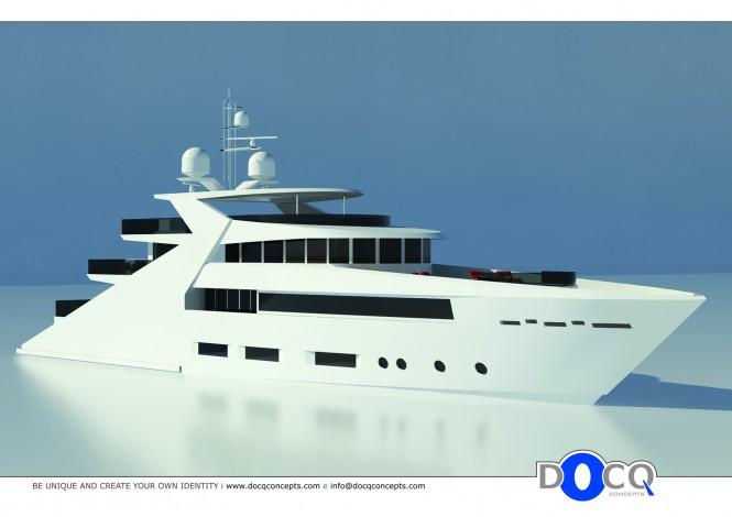 47m motor yacht Lustroso design by Docq Concepts - Front View Profile