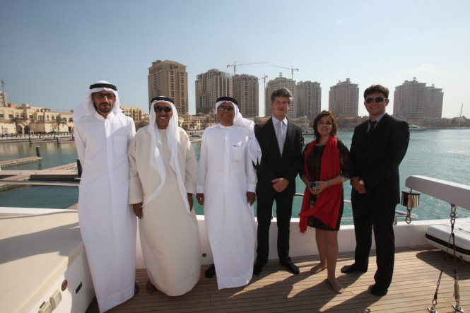 Gulf Craft's Yachting Lifestyle Show in Qatar Hussain Alshaali, Mohamed Alshaali, Dr. Hamdan Alshamsi, Erwin Bamps, Elena Crosetto, Denis Bochkarev – Credit Gulf Craft