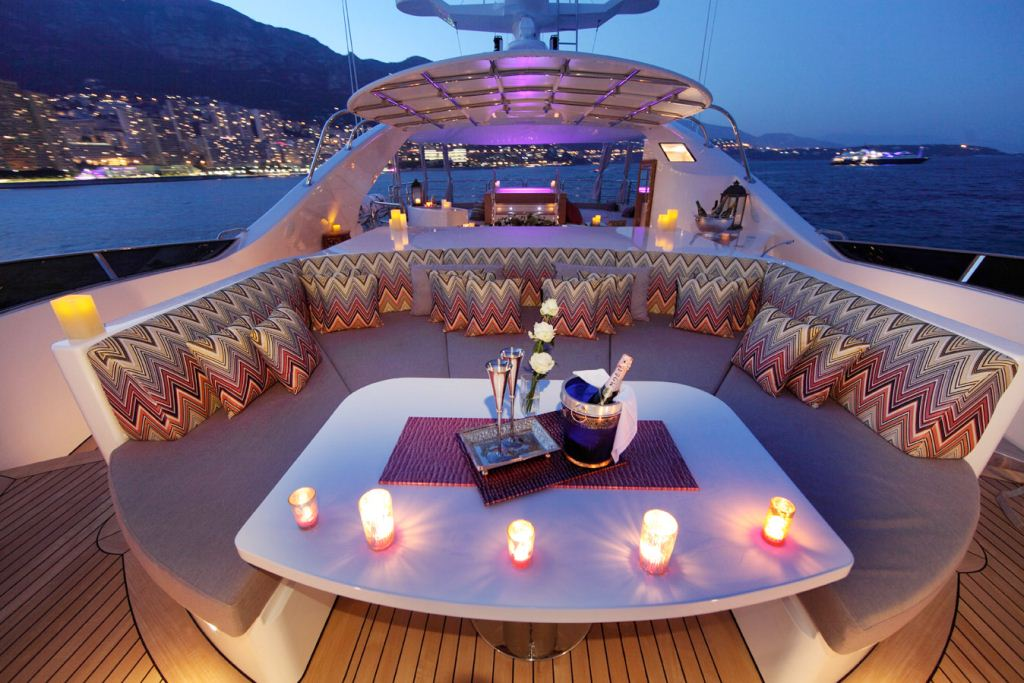 Enjoy an evening on the Top Deck of Motor Yacht TOLD U SO while cruising the Malidves in the Indian Ccean