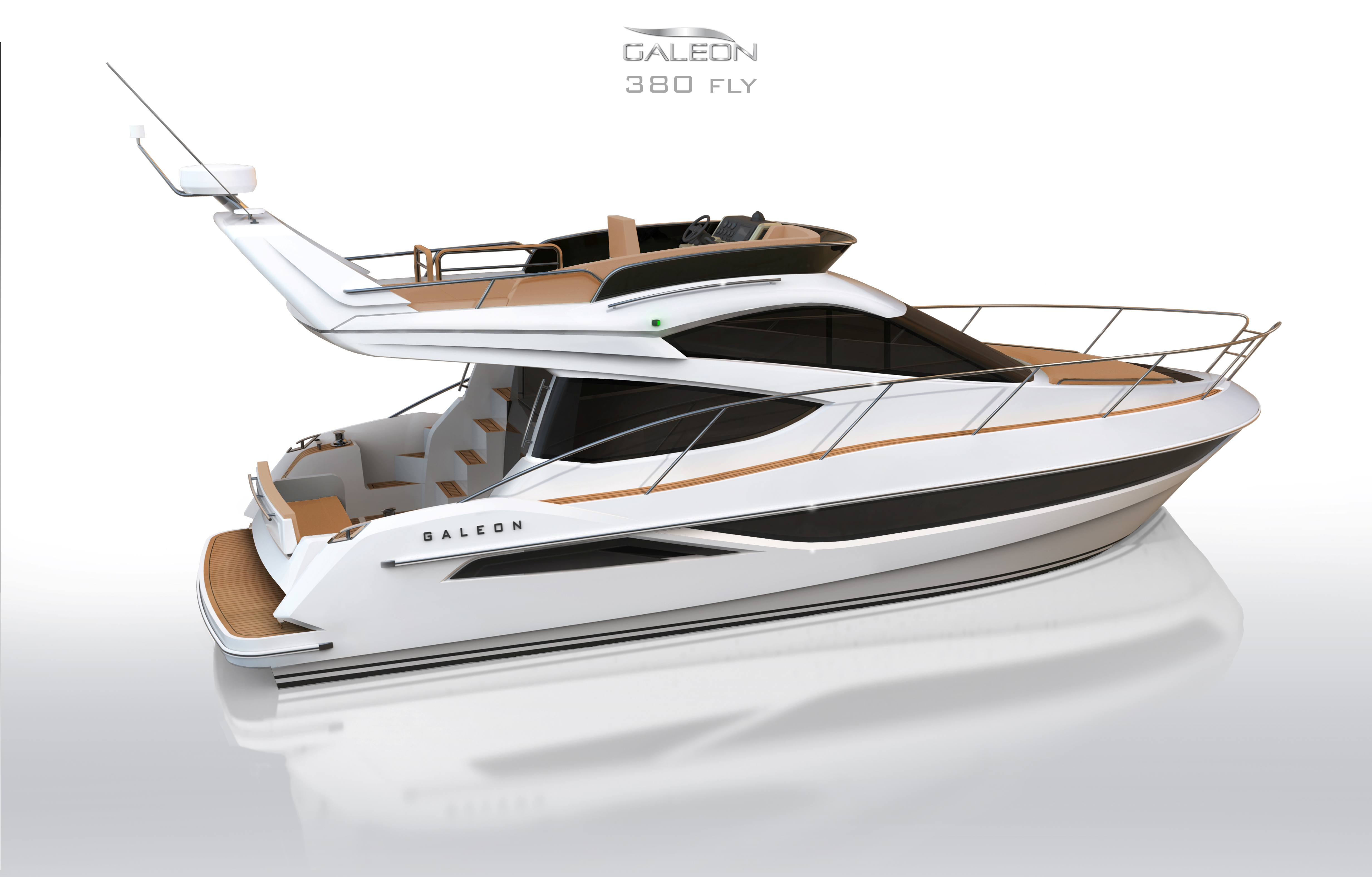 motor yacht galeon 380 fly rear view yacht charter