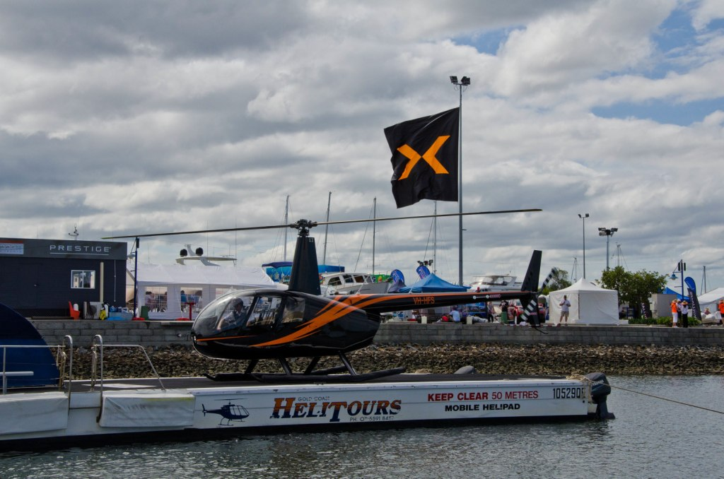 The Gold Coast Marine Expo was easily accessible by helicopter car bus or train and there was plenty of free parking