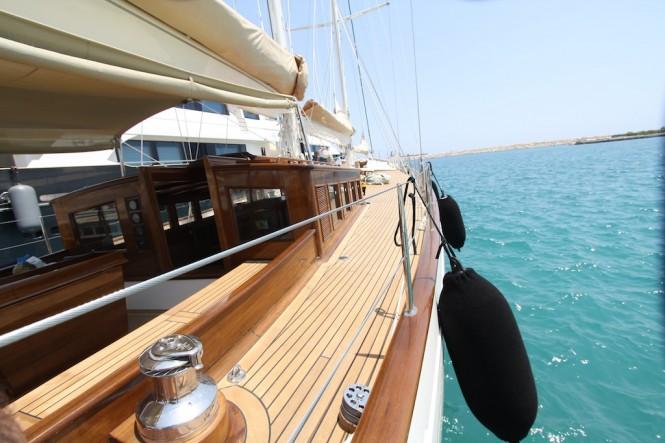 Detail of the 25m Arkin Pruva Argos sailing yacht SHINDELA