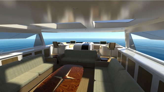 Luxurious interior on board super yacht Evolution