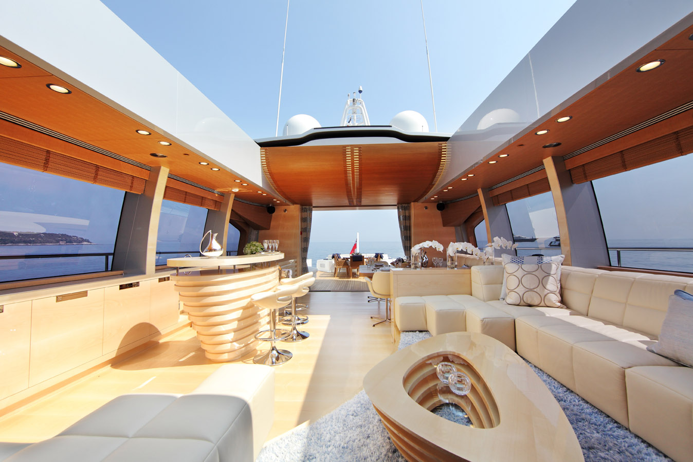 Shooting Star - Main Saloon Roof Open - by Danish yachts