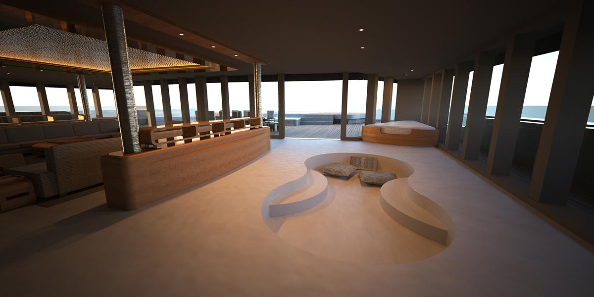 Stunning interior on the 52m luxury yacht Eva