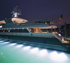 132' motor yacht Serque with exterior light design by Underwater Lights Ltd.