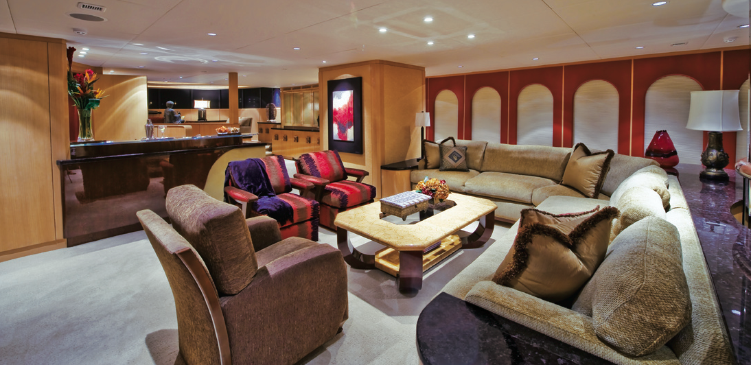 Beautiful interior of the luxury charter yacht Triumphant Lady