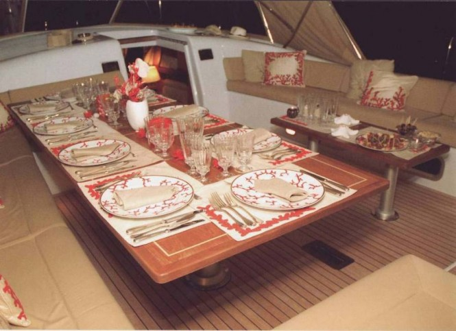Dining area on board sailing yacht Farewell - a Southern Wind 100 - Photo courtesy of Nauta Yachts