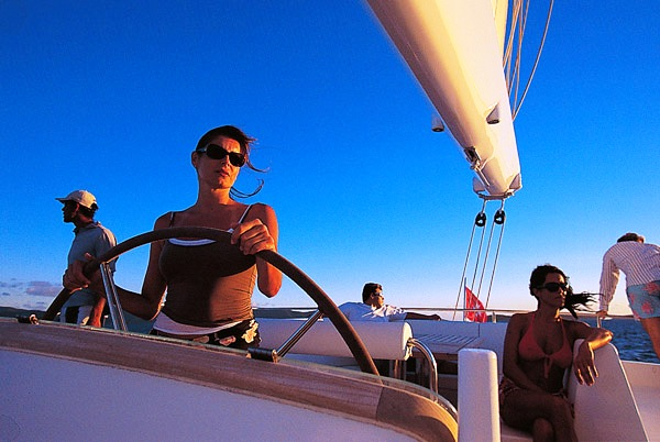 Enjoying charter aboard Maita'i catamaran