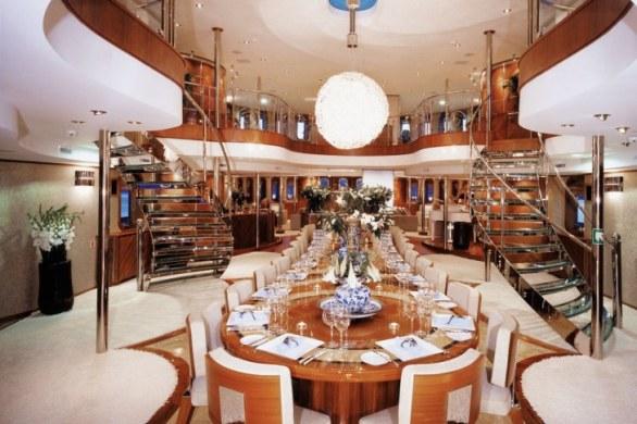 Impressive dining table aboard luxury yacht SHERAKHAN