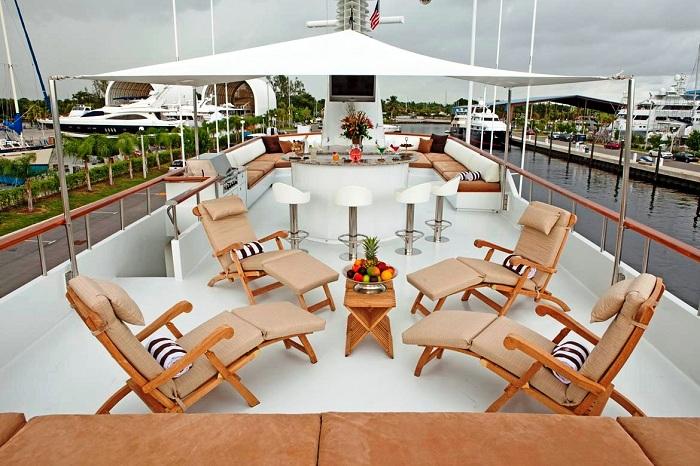Luxurious exterior on board super yacht Golden Compass