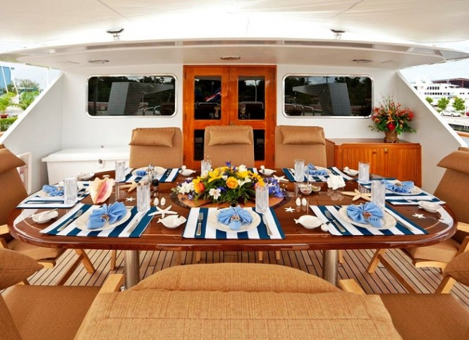 On board luxury charter yacht Golden Compass