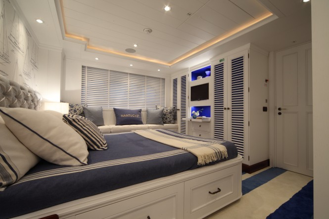One of the VIP cabins on board luxury yacht Lady Trudy