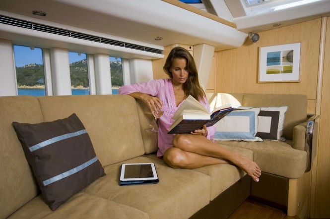 Relaxing aboard Oyster 625 yacht
