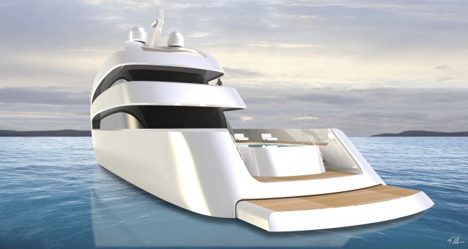Super Yacht PRIONA - rear view