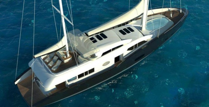 The luxury yacht Conrad 115 - view from above
