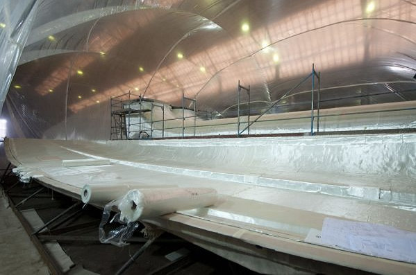 Works In Progress On The 60 Sunreef Power Yacht And The