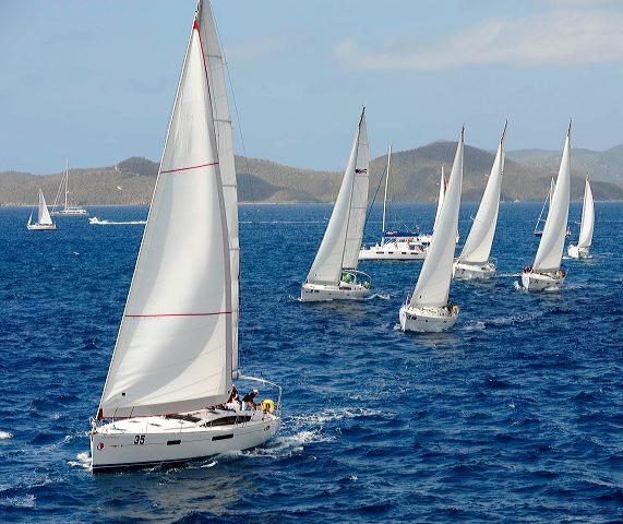 Charter boats race in the 2011 BVI Spring Regatta & Sailing Festival - Sparkling sailing conditions Credit Todd VanSickle - BVI Spring Regatta& Sailing Festival