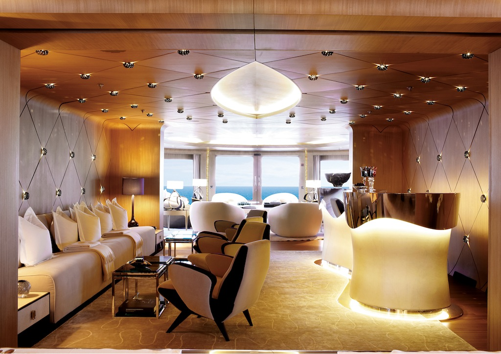 Elegant interior of the luxury motor yacht Numptia ...