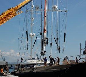 Perini Navi 54m charter yacht Parsifal III repainted at Vilanova Grand Marina - Barcelona