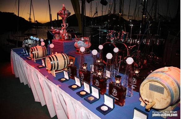 The RORC Caribbean 600 Trophy and an array of trophies, medals and prizes Credit Tim Wright Photoaction