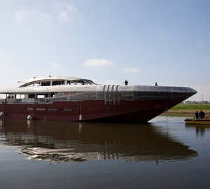 48m motor yacht KETOS by Rossinavi moved to Viareggio for outfitting