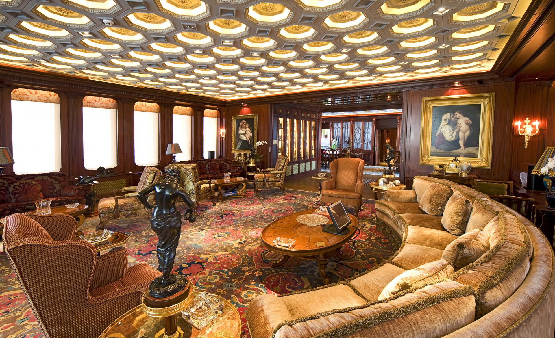 Interior of the beautiful luxury mega yacht SAMAR